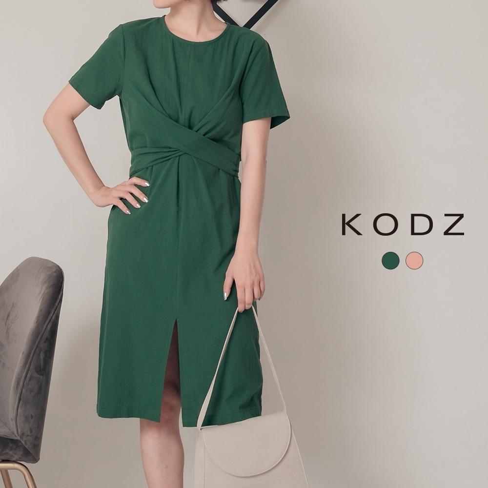 東京著衣-KODZ 都會女性扭結設計前開岔洋裝-S.M.L(共兩色)