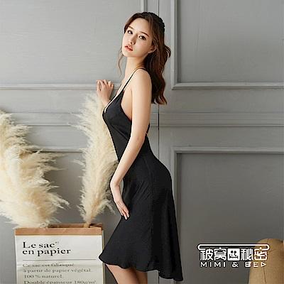 性感睡衣 優雅簡約交叉露背吊帶長裙。黑色 被窩的秘密