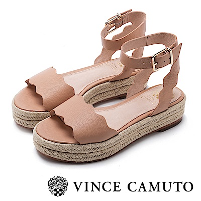 VINCE CAMUTO 經典真皮波浪增高草編涼鞋-棕色