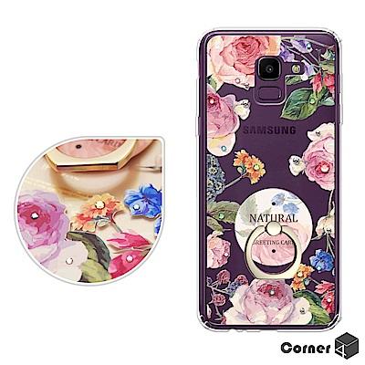 Corner4 Samsung Galaxy J6 奧地利彩鑽指環扣雙料手機殼-...