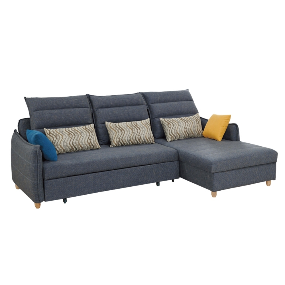 文創集 羅拉克亞麻布L型拉合式沙發床(二向可選)-272x160x105cm免組