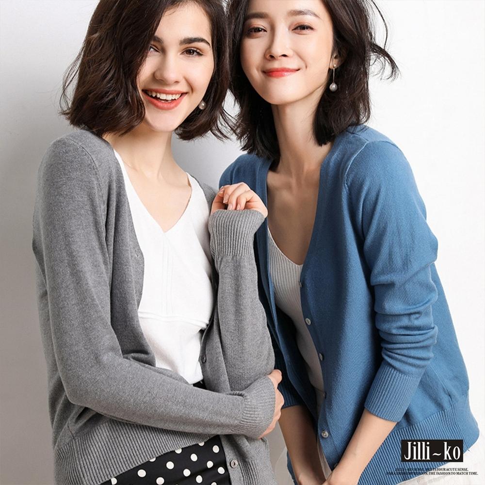 JILLI-KO 薄款羊毛開扣針織衫- 灰/藍