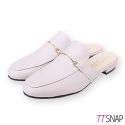 TTSNAP訂製款-簡約細絲金屬方頭穆勒鞋 米