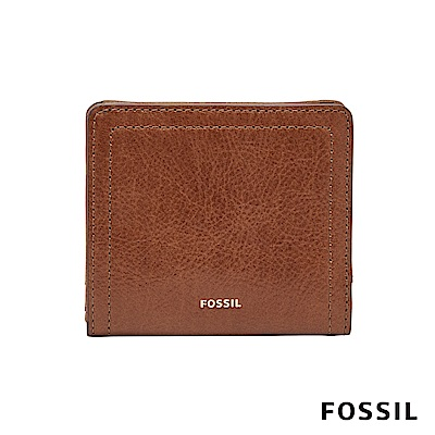 FOSSIL Logan 真皮系列拉鍊零錢袋設計短夾-咖啡色