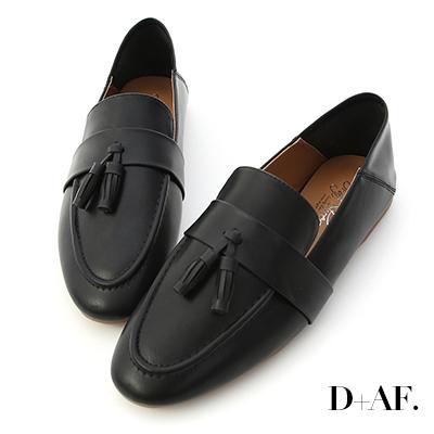 D+AF 日常焦點.麥穗流蘇可後踩樂福鞋*黑