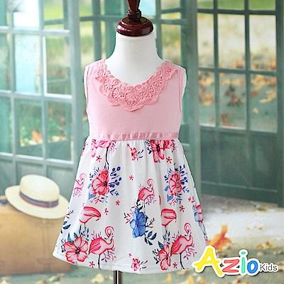 Azio Kids 洋裝 蕾絲領花朵裙襬無袖洋裝(粉)