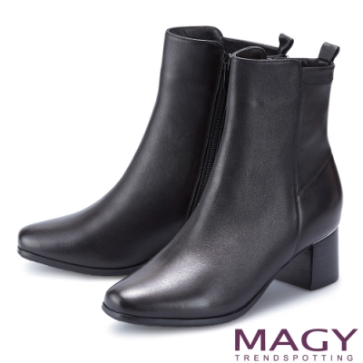 MAGY 質感素面真皮粗中跟 女 短靴 黑色