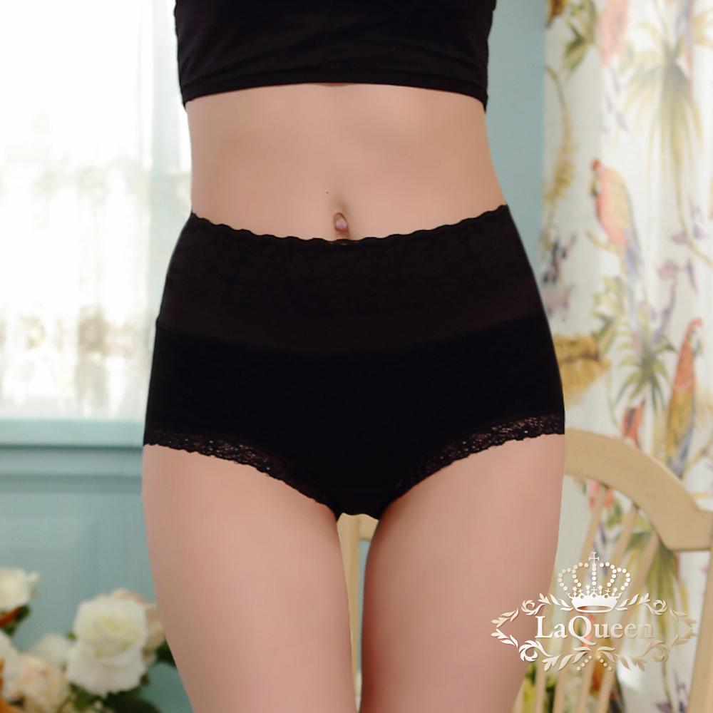 內褲 全蠶絲中高腰收腹包覆褲-黑 La Queen