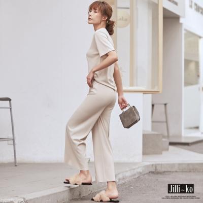 JILLI-KO 兩件套純色冰絲針織套裝- 黑/杏