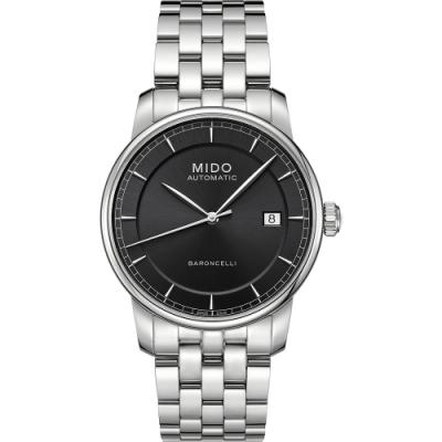 MIDO Baroncelli II 爵士時尚機械腕錶-黑/銀/38mm M86004131