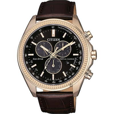 CITIZEN 星辰 光動能萬年曆計時手錶-咖啡 BL5562-18E