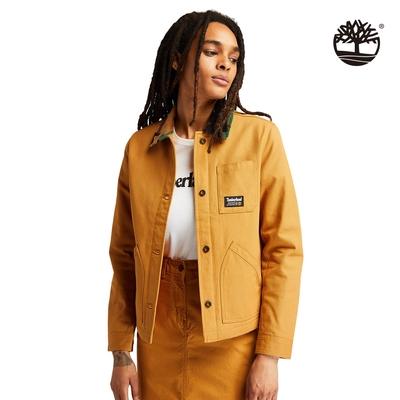 Timberland 女款小麥黃迷彩燈芯絨衣領有機棉工裝外套|A2GEHP47