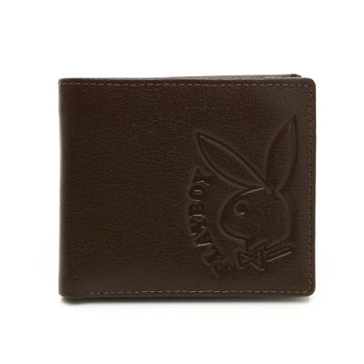 PLAYBOY- 中翻短夾  rabbithead系列-咖啡色