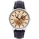 EMPORIO ARMANI文青風格機械手錶(AR4660)-香檳色面X咖啡色/43mm