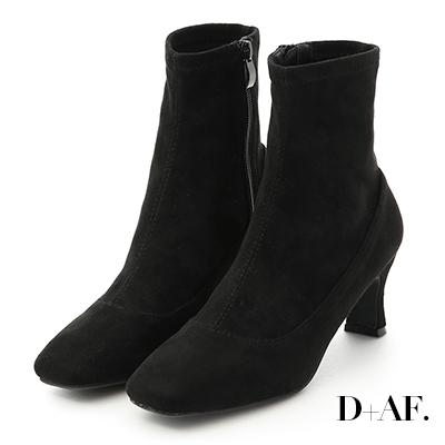 D+AF 時尚話題.素面絨料合腿高跟襪靴*黑絨