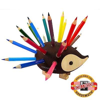【KOH-I-NOOR】捷克色鉛筆刺蝟筆筒(小) – 優雅原木 附色鉛筆
