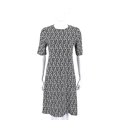 Max Mara 黑白圖騰印花嫘縈五分袖洋裝