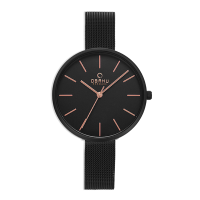 OBAKU 極簡黑現代闡釋鋼質腕錶(V211LXBBMB)/36mm
