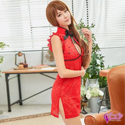 Sexy Cynthia角色扮演 性感火紅網紗刺繡旗袍二件組-紅F