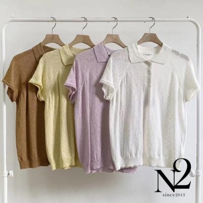 上衣 正韓素面翻領薄透材質POLO衫短袖上衣(紫)N2