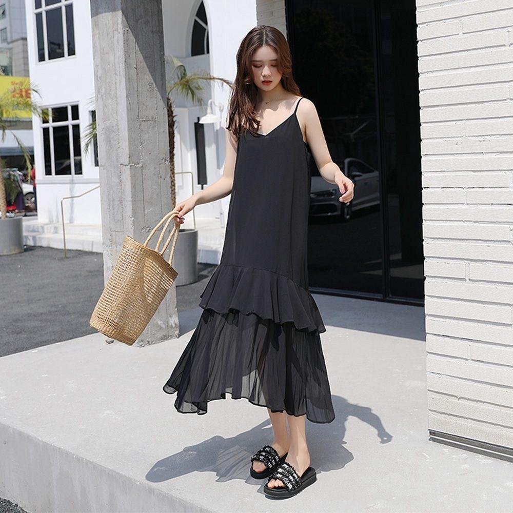 韓風素色細肩帶優雅顯瘦洋裝-F(共兩色)-Dorri