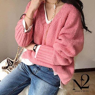 上衣 正韓V領寬鬆縮口針織長袖毛衣(粉紅) N2