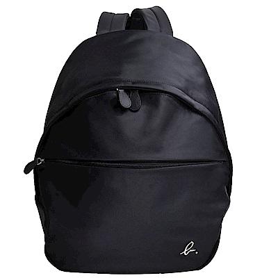 agnes b. voyage 尼龍經典 b 金屬LOGO拉鍊後背包(黑色)