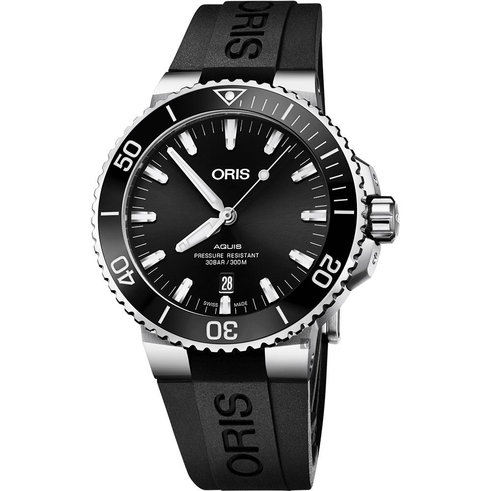 Oris豪利時 Aquis 時間之海潛水300米日期機械錶-黑/43.5mm
