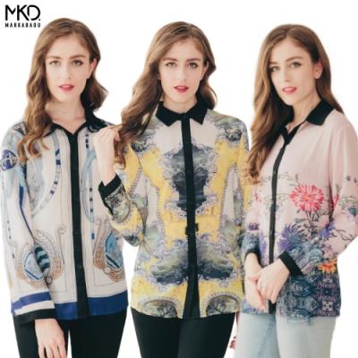 CorpoX & MARKABADU 女款歐亞印花長袖上衣-4件組