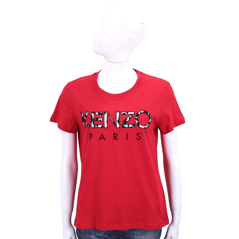 KENZO 補丁豹紋印花字母紅色棉質短袖T恤