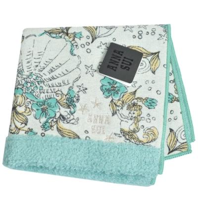 ANNA SUI 優雅可愛人魚世界字母LOGO帕領巾(湖水綠)