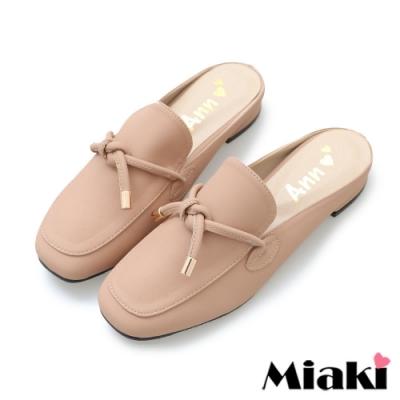Miaki-穆勒鞋純色綁結方頭平底鞋-米