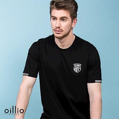 歐洲貴族oillio 短袖T恤 素面圓領 簡單電繡 黑色