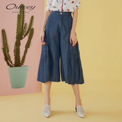 OUWEY歐薇 萊賽爾蛋糕打摺牛仔寬褲(藍)