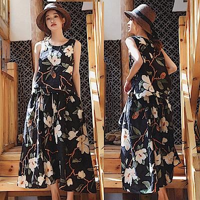 套裝-品質印花亞麻背心長裙-T8643-設計所在