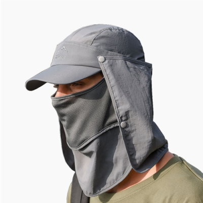 PUSH!戶外休閒用品多種戴法防曬登山遮陽帽釣魚帽速乾帽透氣棒球帽深灰H32