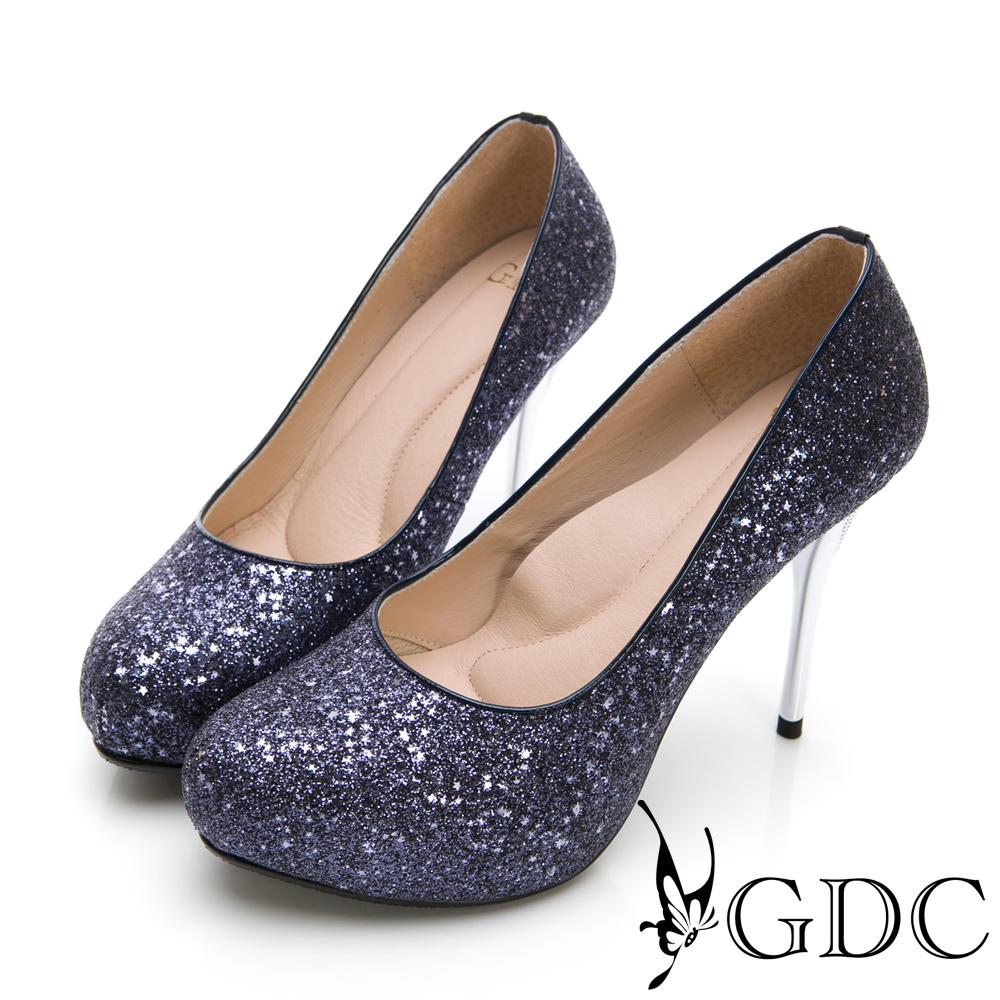 GDC-閃爍迷人滿版亮粉炫魅高跟鞋-藍色