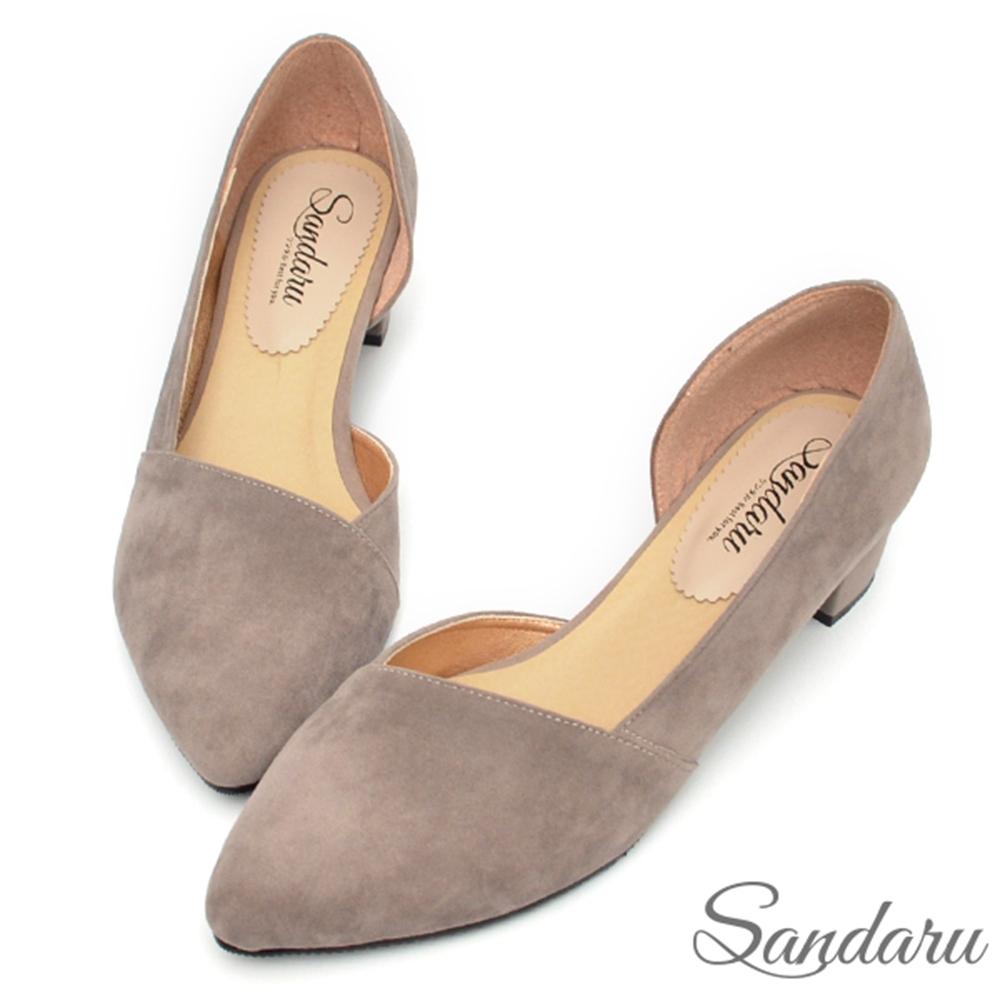 山打努SANDARU-中跟鞋 MIT優雅絨布側空尖頭鞋-灰絨