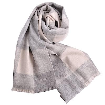 COACH 經典LOGO格紋拼接色羊毛羊絨寬版圍巾-雅典灰