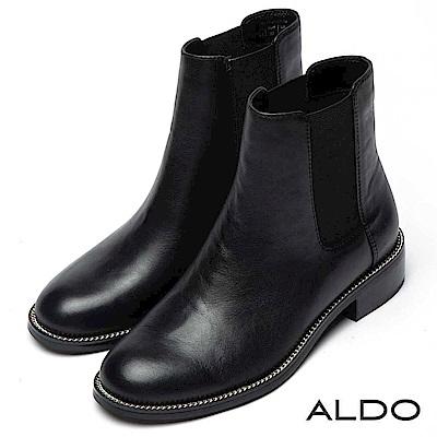 ALDO 原色真皮靴面佐幾何彈性鬆緊帶木紋粗跟靴~尊爵黑色