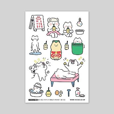 ByNACOO 自剪貼紙包(10入)-015貓咪泡溫泉B