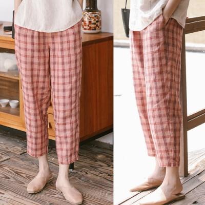 休閒褲-色織亞麻粉色格子寬鬆直筒九分-設計所在