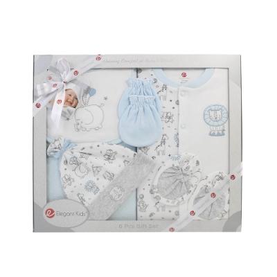 美國Elegant kids-藍色動物園6件式兔裝彌月禮盒