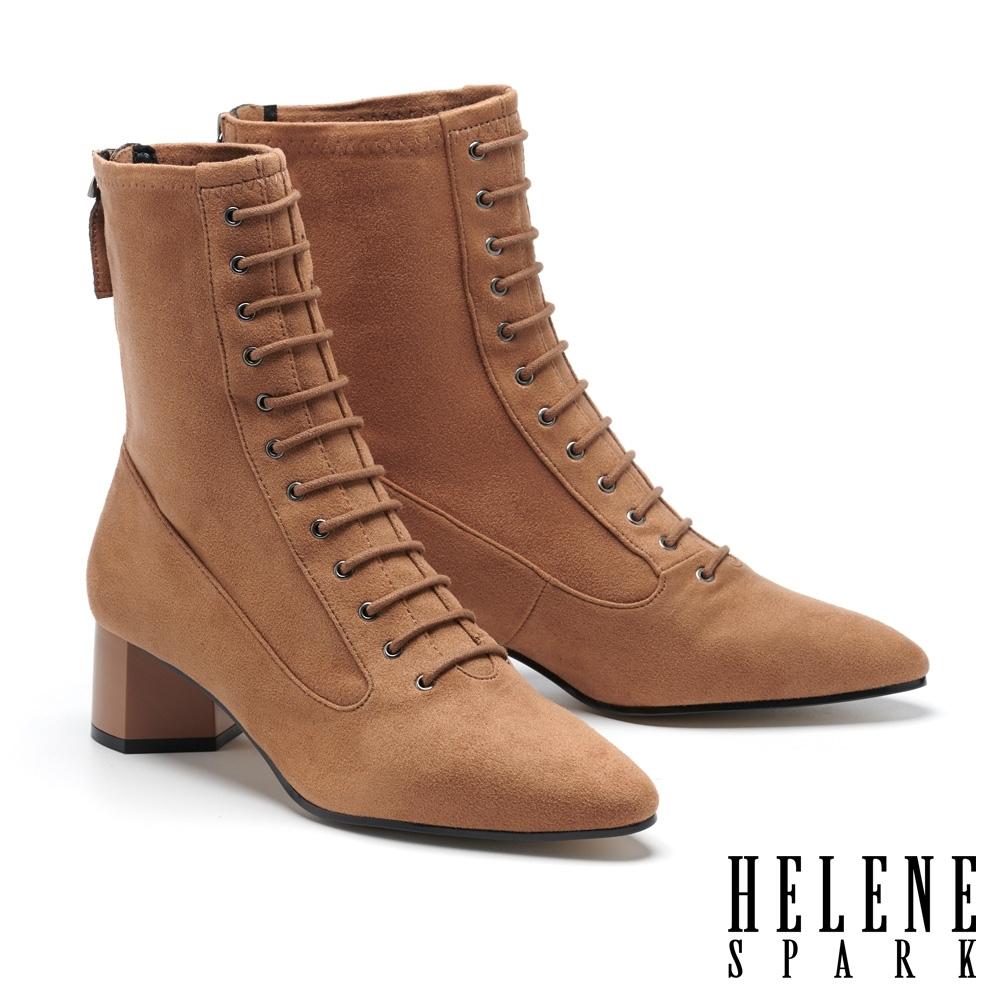 短靴 HELENE SPARK 復古時髦綁帶尖頭彈力麂布粗高跟短靴-咖