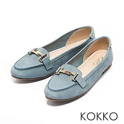 KOKKO - 簡約舒適真皮金屬釦莫卡辛休閒鞋-天鵝藍