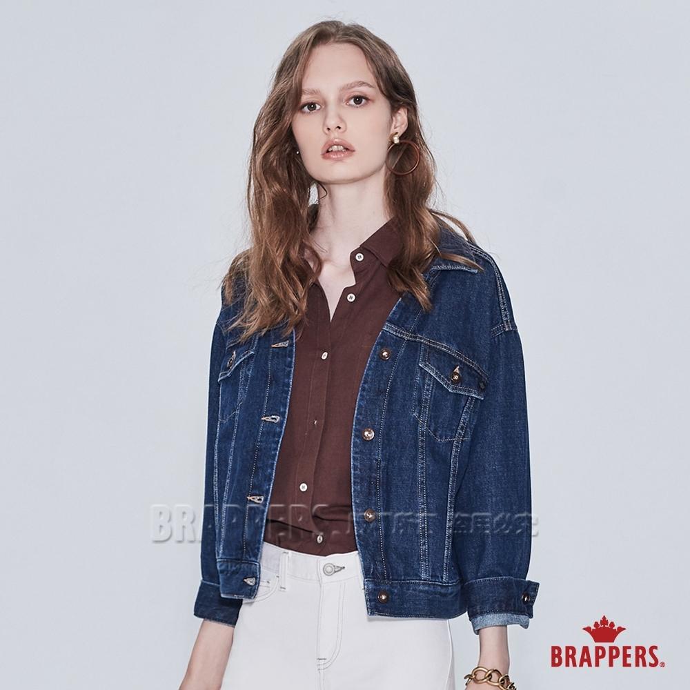 BRAPPERS 女款 中寬版落肩牛仔外套-深藍