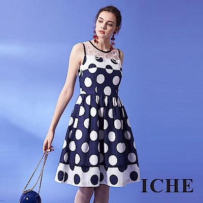 ICHE 衣哲 時尚高級訂製釘珠拼接圓點印花禮服洋裝-藍