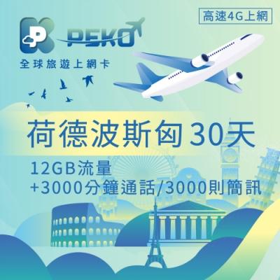 【PEKO】荷蘭 德國 波蘭 斯洛伐克 匈牙利上網卡 30日高速上網 12GB流量 優良品質高評價