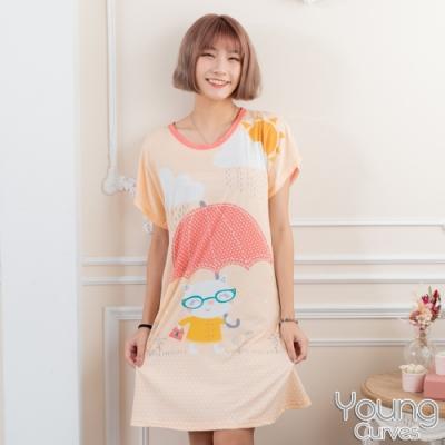 睡衣 牛奶絲質短袖連身睡衣(C01-100715貓咪愛撐傘) Young Curves