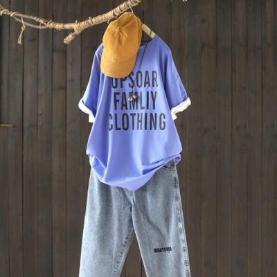 棉質字母印花圓領T恤寬鬆中長版中袖上衣-設計所在